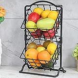 Wetheny - Cesta de fruta de 2 niveles para encimera de cocina, pan, frutas y verduras, soporte de alambre para organizador de cocina