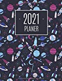 Weltraumfahrzeug Planer 2021: Monatsplaner 2021 mit Wochenübersicht | Raum für Notizen | Januar - Dezember 2021 Agenda | Ideal für die Schule, Studium und das Büro