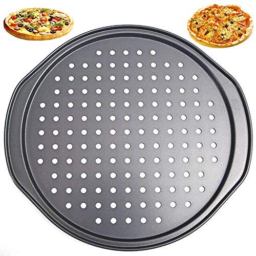 moldes para Hornear Pizza, NALCY Utensilios para Hornear antiadherentes, Molde para Pizza con Agujeros, Bandeja Profesional para Hornear Pizza de Corteza crujiente Redonda de 36 cm