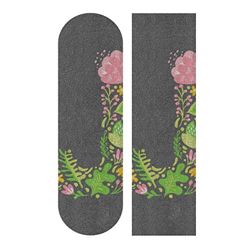 LIANGWE 33.1x9.1inch Sport Outdoor Skateboard Grip Tape para niñas Estilo de Moda Simple Inglés Letra J Imprimir Impermeable Longboard Grip Tape para Dancing Board Double Rocker Board Deck 1 Hoja
