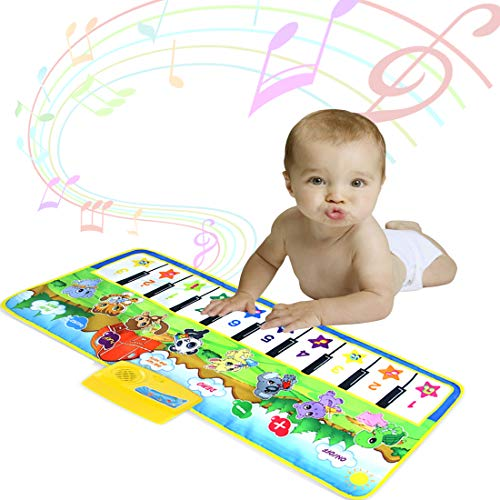 DITHIN Musical Piano Mat for Toddler, Floor Keyboard Piano Mat Dance Mat Funny Animal Touch Carpet Music Blanket Toys for Littler Girl Boys Birthday Xmas Presents for Baby Toddler Kids Green