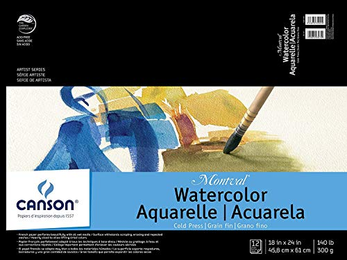 CANSON Artist Series Montval Watercolor Pad, Cold Press Acid Free French Paper, Fold Over, 140 Pound, 18 x 24 Inch, 12 Sheets, 18
