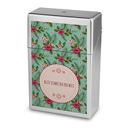 Zigarettenbox mit Namen Beste Schwester der Welt - Personalisierte Hülle mit Design Blumen - Zigarettenetui, Zigarettenschachtel, Kunststoffbox