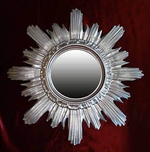 Ideacasa Miroir soleil argenté style baroque Louis XVI imitation vintage 42 cm