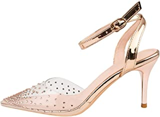 Women's Pointed High Heels, Stiletto Heel High 7Cm Closed Toe Pointed Rhinestone Transparent Pump Sandal Non-Abrasive Feet Suitable for Daily Banquet Wear