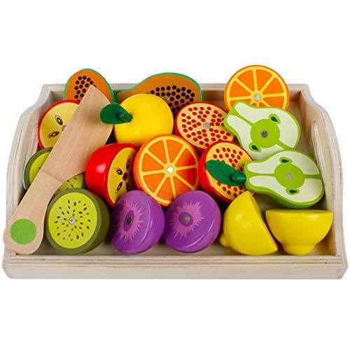 ColiCor Alimentos Juguete Madera,Magnético Juego Cortar Frutas y Verduras,Cocinita Juguete