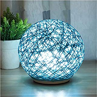 ZNLEY.O USB Power Rattan Ball Takraw LED Night Light Kids Bedroom Home Decoration Lighting Bedside Lamp Table Lamp (Color : Cream Color, Emitting Color : Warm White)