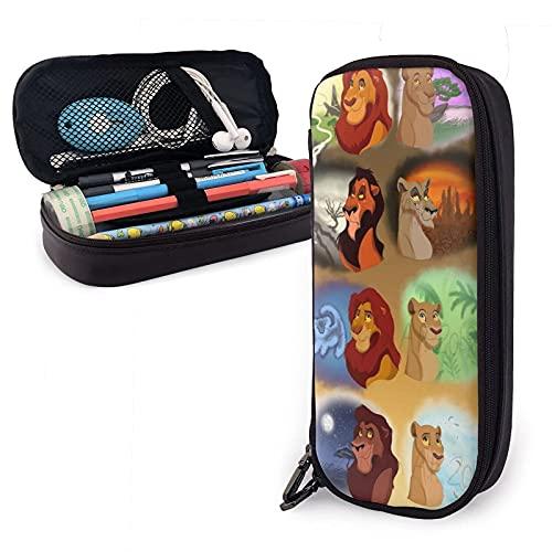 Lion King - Estuche de piel para lápices, bolsa de cosméticos de viaje, estuche con cremallera de gran capacidad, caja de almacenamiento de papelería, regalo de cumpleaños