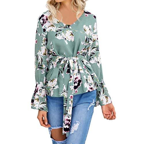 Hevoiok Heiß Herbst Chiffon Shirt Damen Langarmshirt Mode V-Ausschnitt Blumen Blusentop Oberteile Langarm Top Bluse T-Shirt mit Gürtel (Grün, M)
