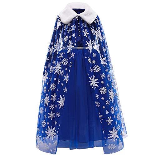 LOBTY Disfraz de Princesa Elsa, Traje del Vestido, Traje de Princesa de la Nieve Vestido Infantil Disfraz de Princesa de Niñas para Halloween Traje Fiesta Cosplay
