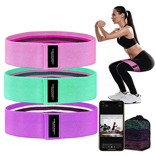 Booty Bands 3 Resistance Bands for Legs and Butt Exercise Bands Fitness Bands - Resistance Loops Hip Thigh Glute Bands Non Slip Fabric - Elastic Strength Squat Band, Workout Beginner to Professional by Soalpha
