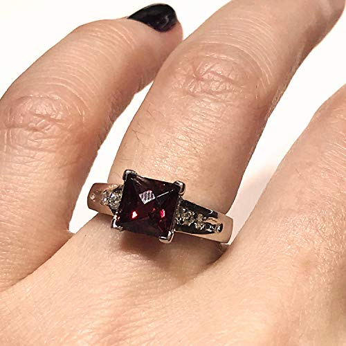 July Birthstone 2.1 ct tw Natural Red Ruby /& Diamond Solid 14k White Gold Double Halo Engagement Ring for Women 14 mm