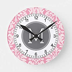 McC538arthy 15 Inch Wooden Wall Clock Pastel Pink Gray Damask Pattern Custom Monogram Round Wall Decor for Kitchen, Living Room, Bedroom, Office