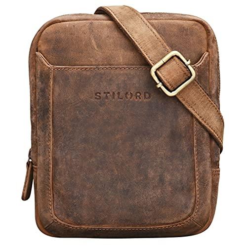 STILORD 'Costa' kleine Herrentasche Leder Umhängetasche Vintage Schultertasche Männer 8,4 Zoll Tablet Herrenhandtasche Messenger Tasche Echtes Leder, Farbe:mittel - braun