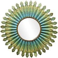 Z-jingzi Espejo Decorativo Hermoso de la Pared del Metal de la Pluma del Pavo Real, Espejo acodado Colgante del Metal de la decoración 3D, Acento cristalino