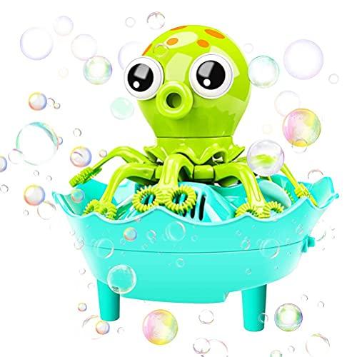 Kehyes Máquina de pompas de jabón con forma de pez calamar, kit de pompas de jabón, juguete automático para niños, 1000 + burbujas por minuto, con solución de burbujas