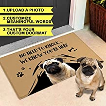 VEELU Personalized Door Mat for Front Door Outdoor Dog Pet Funny Custom Welcome Photo Doormat Outside Inside Modern Farmhouse Decor Unique Gift Idea for New Home Realtor Wedding Closing Housewarming