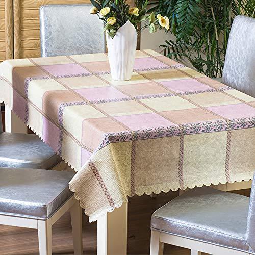 HETOOSHI Tischdecke Eckig Abwaschbar Pflegeleicht Schmutzabweisend Farbe Wachstuchtischdecke Wachstischdecke PVC Plastik Tischdecke abwischbar (Beige, pink, 140 x 200 cm)