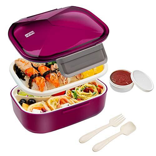 BIBURY Bento Boxen, Auslaufsichere Brotdose Kinder und Erwachsene, Lunch Boxen mit Besteck, Joghurtbecher und 4 Fächern, Lebensmittelbehälter BPA-Frei, Mikrowellen und Spülmaschinenfest, 1.7L (Rot)