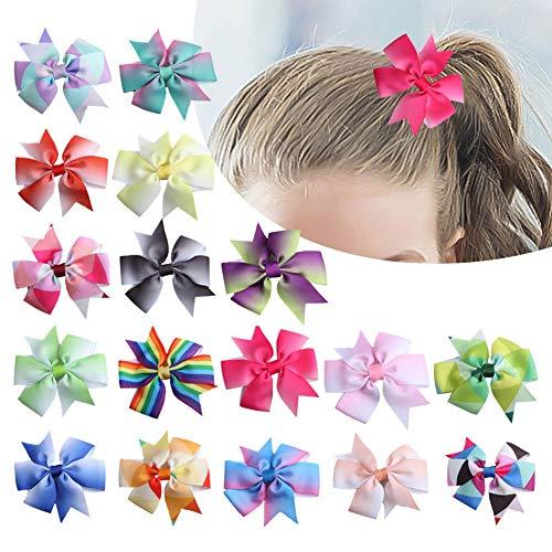 Fuyamp 18 Stück 7,6 cm einfarbiges Ripsband für Babys, Mädchen, Krokodilklemmen, Haar-Zubehör für Säuglinge, Kleinkinder, Kinder, Teenager (18 Stück)