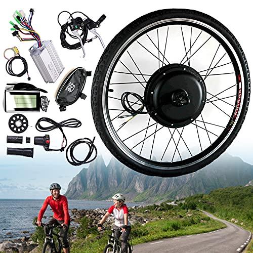 20 '24' 26 '28' 700c 'Kit de conversión de rueda trasera / delantera, 48V 1000W Kit de conversión de bicicleta eléctrica de motor de cubo de transmisión con pantalla Controlador,FrontWheel-700cINCH