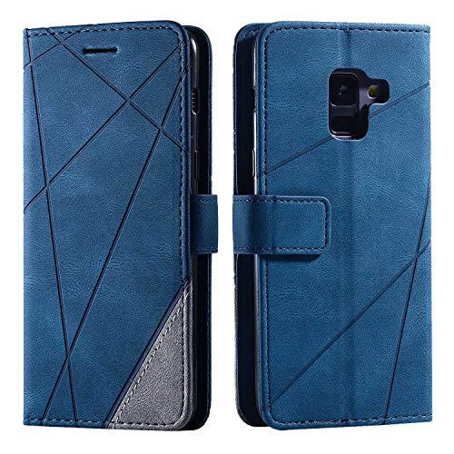 Hülle für Samsung Galaxy A8 2018, SONWO Premium Leder PU Handyhülle Flip Hülle Wallet Silikon Bumper Schutzhülle Klapphülle für Galaxy A8 2018, Blau