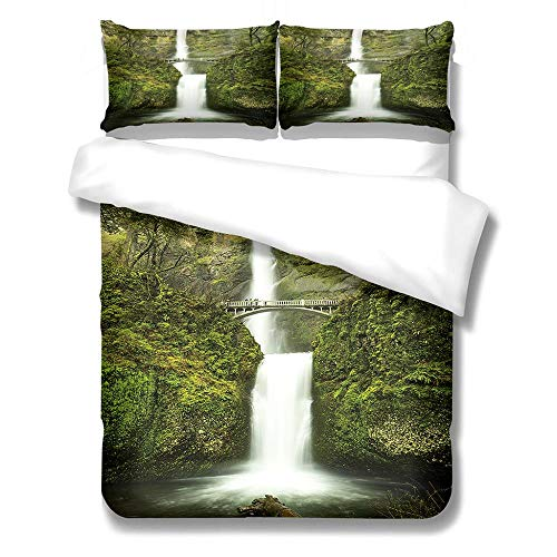 Bedding Set Duvet Cover and Pillowcase Waterfall Microfiber Boy Child Teenager Duvet Cover Zipper Closure 1 Quilt Bedding Set with 2 Pillowcases, Super King: 260x240 cm