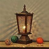 LUCKY CLOVER-A Lampe De Table Thaï en Bois Massif Tissage HôTel ÉClairage CréAtive RéTro Simple en Bois Chambre Chevet Lampe du Sud-Est Asiatique Style Naturel