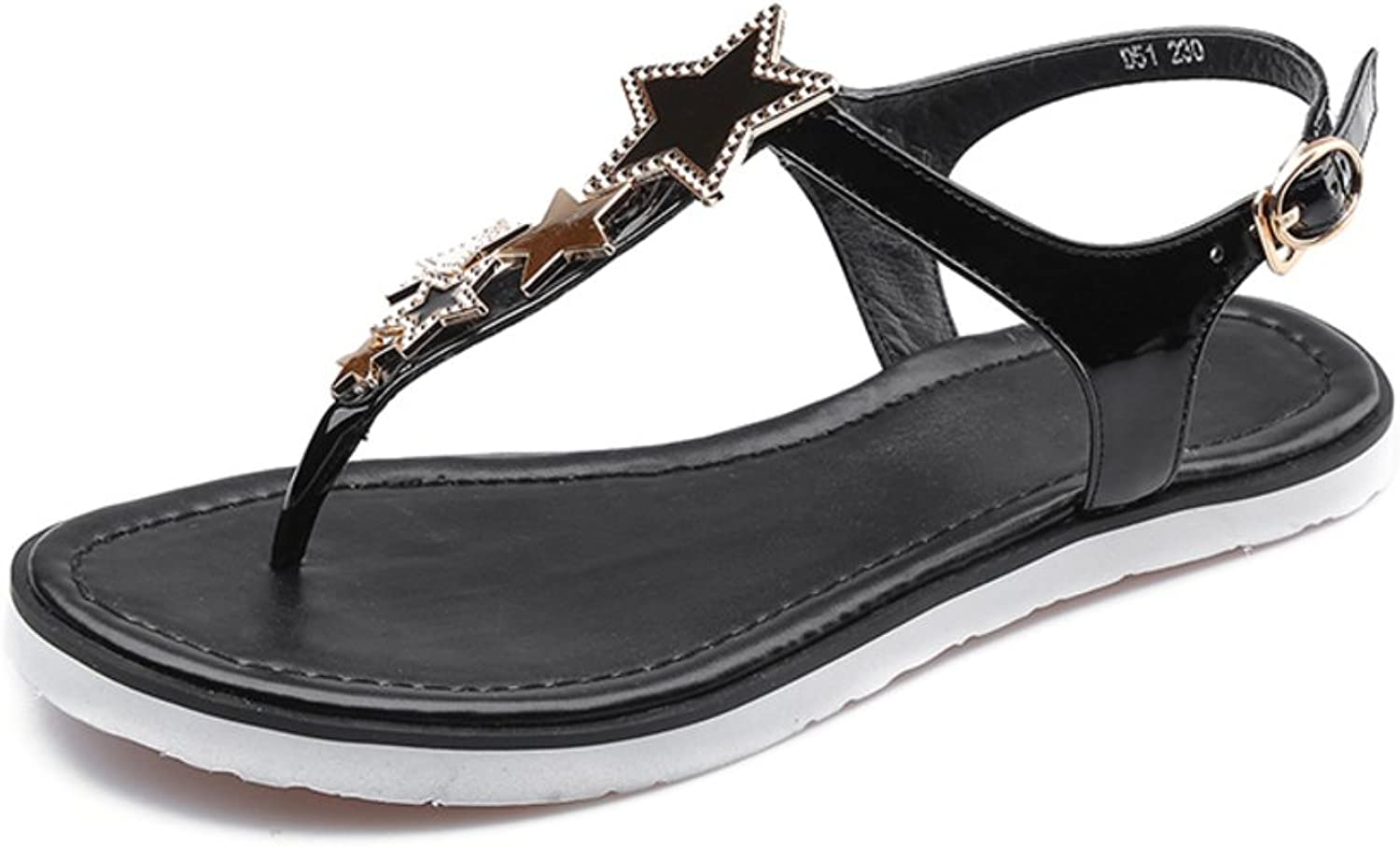Huhuj First Layer Leather Stars in Summer shoes Comfortable Flat Sandals Low toeT Sandals Fashion Lady shoes