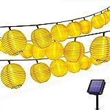 Solar Lichterkette Lampions Außen 20er LEDs Lichterkette 4,2Meter Laterne, Solarbetrieben Warmweiß...