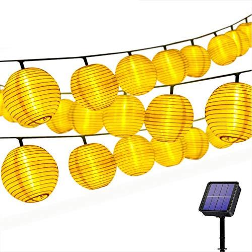 Solar Lichterkette Lampions Außen 20er LEDs Lichterkette 4,2Meter Laterne, Solarbetrieben Warmweiß Wasserfest Dekoration für Garten Balkon Terrasse