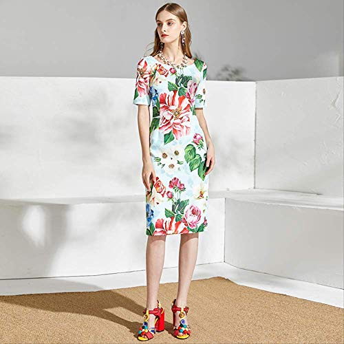 QUNLIANYI Sommerkleid Frauen Kurzarm Charming Rose Blumendruck Damen Elegant Midi Kleid Vestido XL