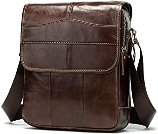 YXHM AU Men's Vintage First Leather Flip Genuine Leather Satchel Bag (Color : Oil Coffee)