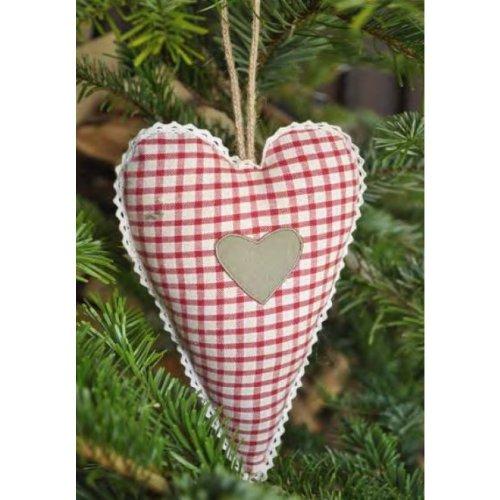 Son coeur sETTE vichy rouge et blanc avec cœurs de 12 x 18 cm