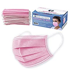 BOX of 50 PINK MASKS in SANITARY DISPENSER BOX: Our 3-layer sanitary masks come in a sealed plastic shrink-wrapped box that has a perforated dispenser top, so you can conveniently dispense one mask at a time. 3-LAYERS of FILTERING PROTECTION: Our 3-p...