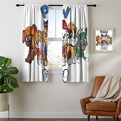 DILITECK - Cortinas opacas con diseño de la Patrulla Canina, insonorizadas, para recámara, decoración de recámara, 42 x 45 pulgadas