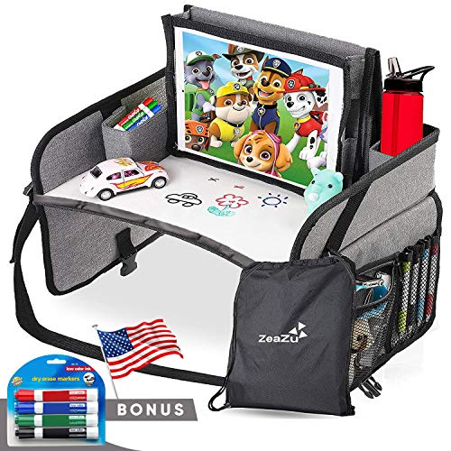 ZeaZu Kids Travel Tray - Compact Lap Car Seat Table Desk with Dry Erase Board & iPad Holder for Toddler & Child Road Trip & Airplane Activity with Backseat Storage Organizer Essentials w/Cup Holder