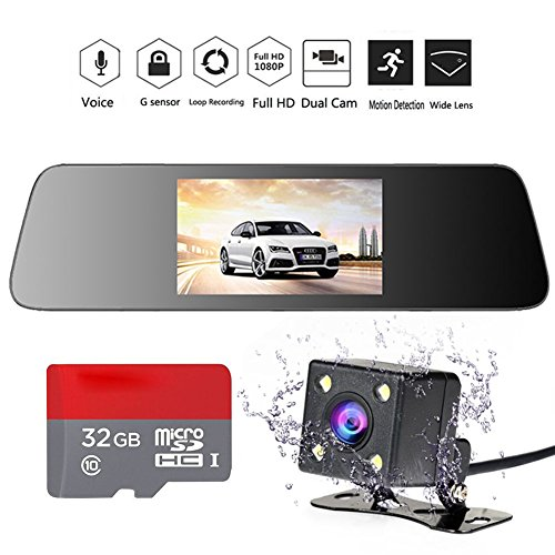 INRIGOROUS HD Mirror Cam 4.3' 1080P Rearview Mirror Dual Lens Dash Cam in Car Camera Night vision Vehicle Camera with Rear Camera and 32GB Memory Card