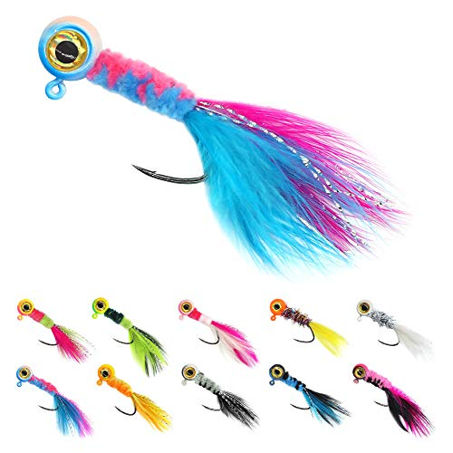 thkfish 10PCS Fishing Jig Head Underspin with Spinner Blade Lead Head Fish Eye Jig Hook for Crappie Panfish Bass Trout