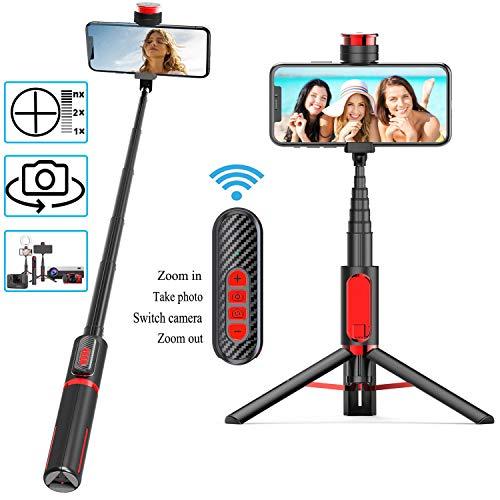 Babacom Bluetooth Selfie Stick Stativ 3 in1 Selfie-Stange Nicht Kompatibel mit IOS Für Live,Online-Unterricht Monopod mit Einstellbarem Fokus Kamera Vorn und Hinten Wechseln für Samsung/Huawei Gopro