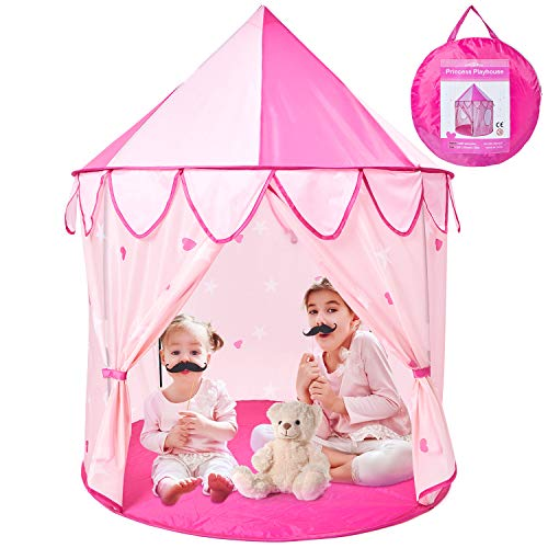 Theefun Princess Castle Play Tent, 41.5 x 53 inch Play Tent for Kids with Storage Carry Bag, Foldable Pop Up Tent Indoor and Outdoor Use, Great for Girls Age 3 and Up, Pink