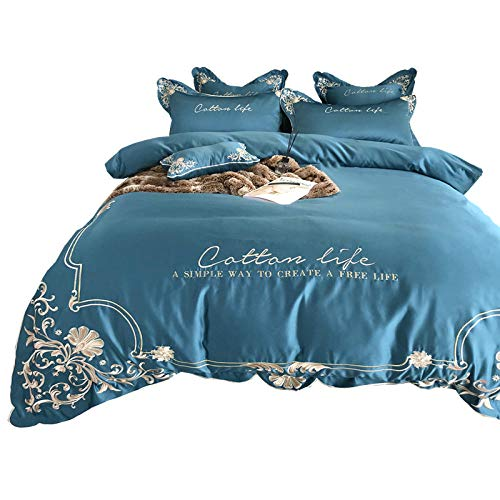 geek cook Four-piece bed,Quilt cover cotton cotton silk slip four-piece embroidery double silk net red section bedding 1.8-Blue 1_1.8m (6 feet) bed