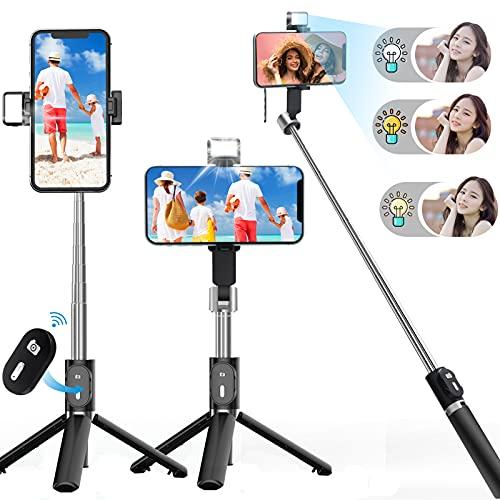 自撮り棒 三脚/一脚兼用 スマホスタンド LED自撮ライト付き bluetoothリモコン付きセルカ棒 7段階100cmまで伸縮 携帯便利 360°回転 iPhone Androidスマホ等対応