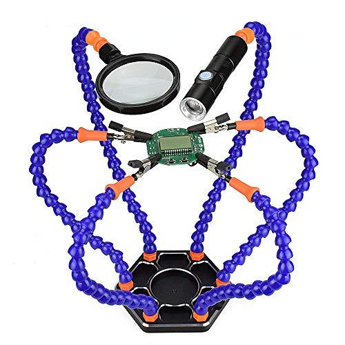 MJJEsports 6 Flexibele Armen Solderen Vise Helpen Handen Derde Hand PCB Reparatie Fixture met Vergrootglas Lens & LED Zaklamp, Blauw, 1