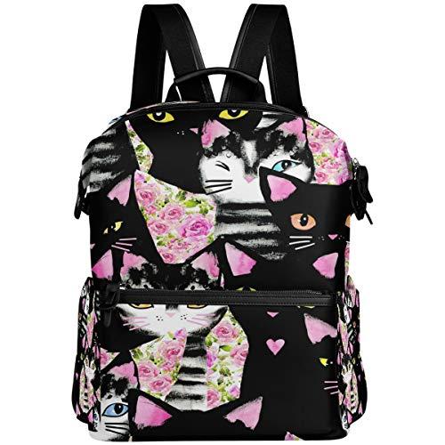Mochila Oarencol con diseño de gatos, color negro y rosa