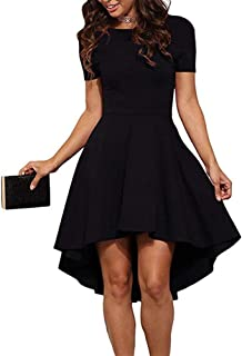 Womens Scoop Neck Short Sleeve High Low Cocktail Skater Dress