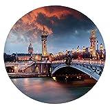 Alexandre 3 Bridge Paris France Palace - Mantel de mesa ajustable de poliéster con bordes elásticos, color dorado, para mesas redondas de 49 a 55 pulgadas, protección para tu mesa