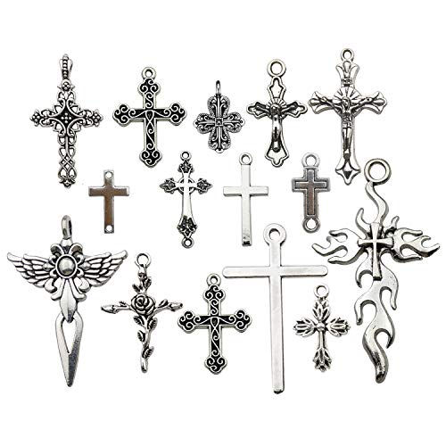 iloveDIYbeads 100g (About 42pcs) Craft Supplies Antique Silver Jesus Christ Cross Charms Pendants for Crafting, Jewelry Findings Making Accessory for DIY Necklace Bracelet (M266)