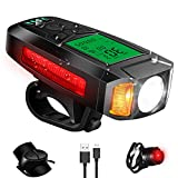 Bike Light Set with Bike Speedometer, Bicycle Headlight Taillight,USB Rechargeable Computer with Loud Bike Bell, IPX4 Waterproof, 5 Lighting Modes Flashlight Hiking Camping All Mountain & Road Cycling