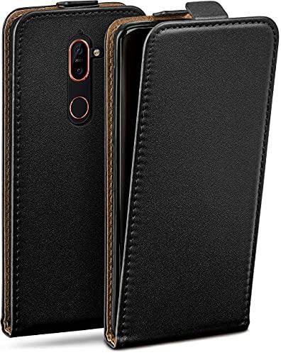 moex Flip Hülle für Nokia 7 Plus Hülle klappbar, 360 Grad R&um Komplett-Schutz, Klapphülle aus Vegan Leder, Handytasche mit vertikaler Klappe, magnetisch - Schwarz